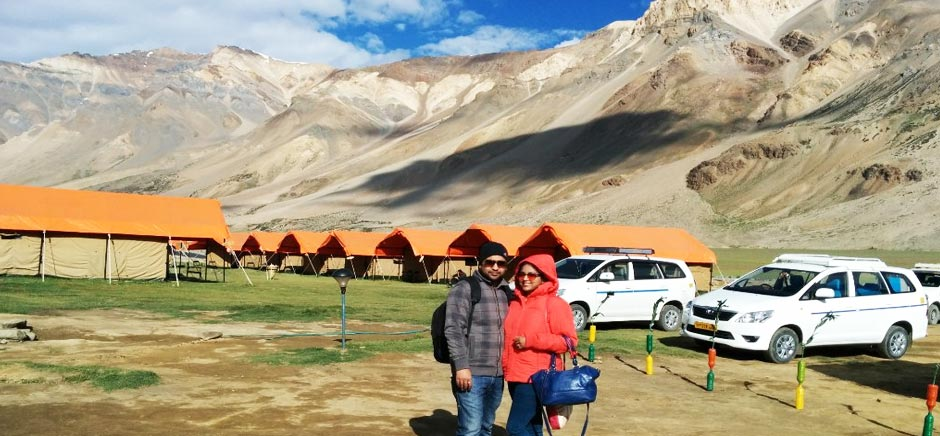 Tourist at Camp Site in Sarchu, Himachal Pradesh